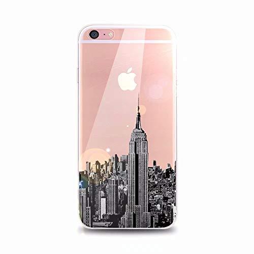 iPhone 8 Hülle, MingKun Transparent Muster TPU Silikon Handyhülle für iPhone 7/8 Schutzhülle Pattern Ctystal Anti-Kratzer Protektiv Tasche Schale - Hochhaus