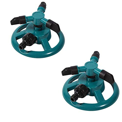 Paquete de 2 aspersores de agua, automático 360 Aspersor de jardín ajustable rotativo 3 Aspersores...