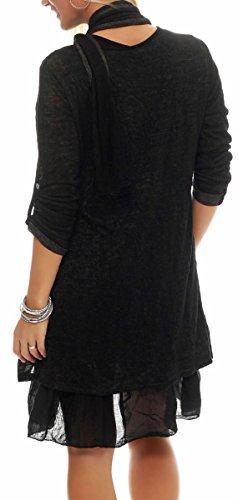 malito Strickkleid mit passendem Schal Maxikleid 6283 Damen One Size Schwarz