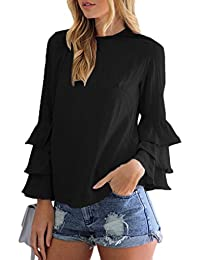 Sevozimda Mujeres Casual Camiseta con Volantes De Manga Larga Tunica Plus Size Top tee
