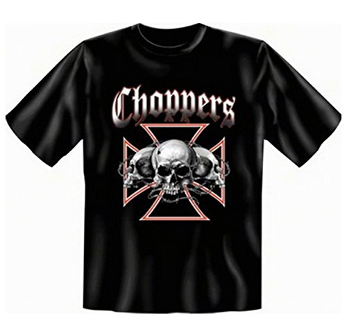 Totenköpfe Skulls Biker T-shirt Übergröße Choppers Fb schwarz in 4XL -