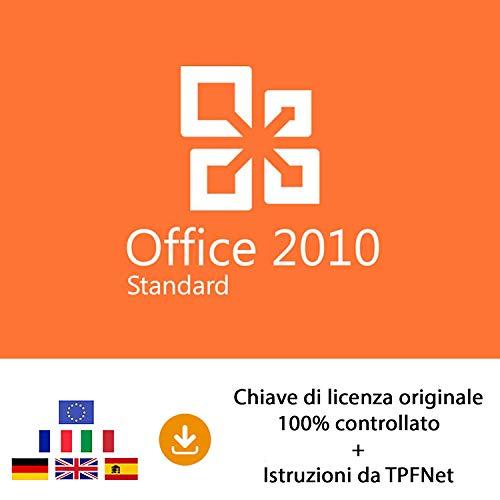 MS Office 2010 Standard 32 bit e 64 bit - Chiave di Licenza Originale per Posta e E-Mail + Guida di TPFNet - Spedizione max. 60min