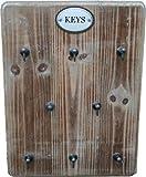 Moritz Schlüsselbrett aus Holz mit 8 Haken - Landhaus Stil - Vintage - 25 x 33cm