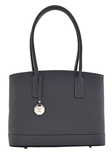 ZANITA Sac porté Épaule Femme Shopper Porté Main Vrai Cuir Fabriqué en Italie Artisanale Gris foncé