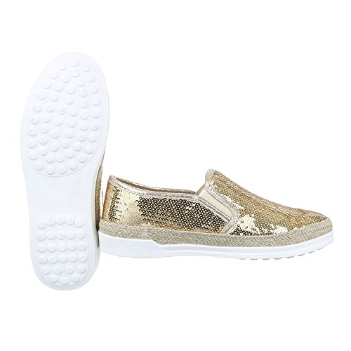 W-61, chaussures basses femme Gold 50701
