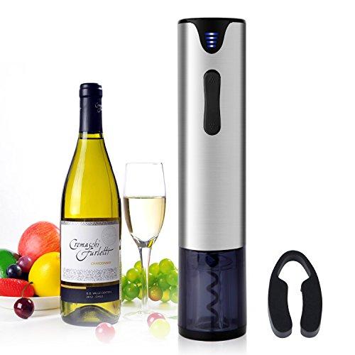 weinöffner elektrisch Elektrische Flaschenöffner automatischem Korkenzieher 5 Sekunden USB-aufladender Edelstahl-Metallkasten und Ergonomisches Entwurfs,Kapselschneider für Weinflaschen Silber