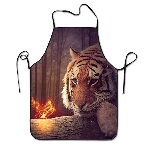 Neon Tigers Butterflies Aprons Bib Mens Womens Lace Adjustable Polyester Chef Cooking Long Full Küchenschürzen 1850 Server