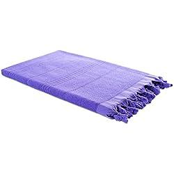 Carenesse Serviette de bain, Pestemal hamam double pourpre 100 % coton, 430 gr, 90*190 cm, Drap de plage, Fouta, serviette de sauna, serviette de plage, Tissu éponge, serviette