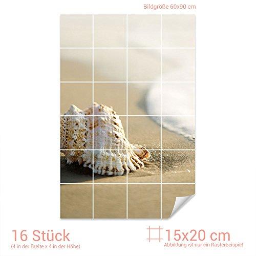 Graz Design 761294_15x20_60 Fliesenaufkleber Muschel/Strand für Kacheln   Bad-Fliesen mit Fliesenbildern überkleben (Fliesenmaß: 15x20cm (BxH)//Bild: 60x90cm (BxH))