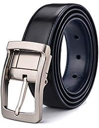 Xhtang Ceinture réversible pour homme en cuir ceinture en noire mode  ceinture chic le costume et e30dd737036