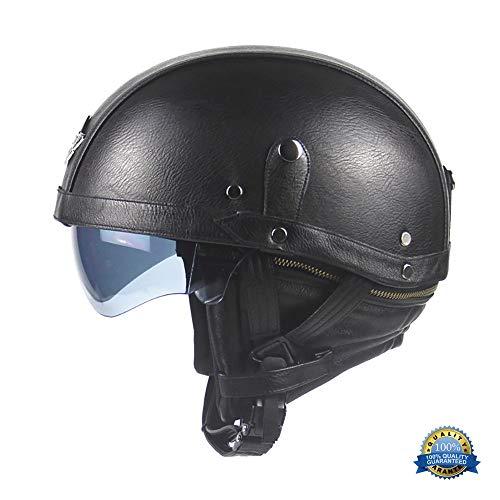 YLFC Jethelme Motorradhelm, Leather Halbhelme Retro Scooter-Helm Motorrad-Helm Chopper Roller Mofa mit Visier-ECE-Zertifizierung