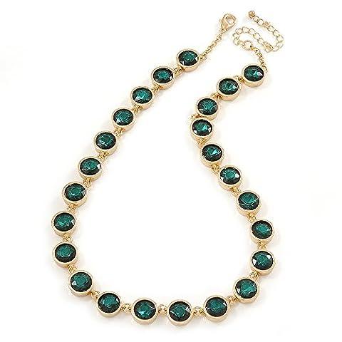 Façade Déclaration de perle en verre Vert émeraude Verre Collier en plaqué or–44cm L/7cm ext