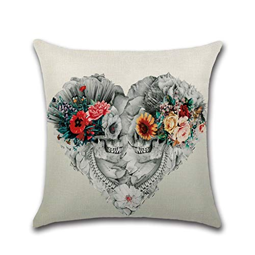 Brilcon 45 x 45 cm quadratisch aus Leinen Schädel Serie Throw Pillow Case bunt Floral Geometrisch Abstrakt Malerei Kissen Abdeckung für Halloween Dekoration für Zuhause E -