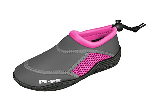 PI-PE Active Badeschuhe Kinder Jungen und Mädchen Aquashoes Schwimmschuhe (Grey/Pink, 21)