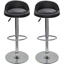 DP GRIFERIA 2x16020+16001 - Pack 2 Taburetes con base en cromo y asiento redondo negro (imitación cuero)