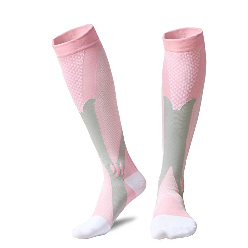Acelec calcetines de compresión para hombres y mujeres, de rendimiento, grado médico diabético, pierna, apoyo, recuperación, sirven para impedir la hinchazón, Dolor de Espinillas, Gemelos, y artritis (cuatro colores), Pink L/XL (Women 5.5-13 / Men 7-13.5)