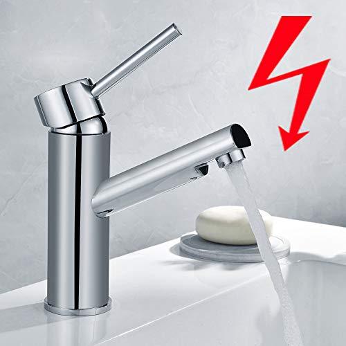 Auralum Hochglanz Niederdruck Wasserhahn fürs Bad, Badarmatur verchromte Mischbatterie fürs Badezimmer, Waschbeckenarmatur mit Perlator fürs Waschbecken