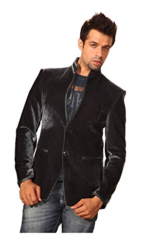 PCC Mens Eye-catching black Color velvet Fabric Blazer (Mens Black Velvet Blazer)