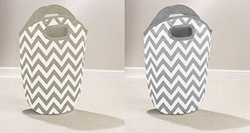 grey-or-brown-chevron-pattern-home-laundry-hamper-foldable-bag-washing-basket