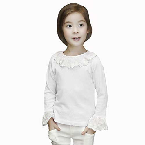 Amlaiworld Bebé Niñas Moda casual Volantes Camisetas Tapas Blusa Ropa (6-7 Años, Blanco)