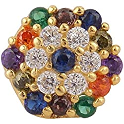 Payalwala 14K Yellow Gold Multi Color Gemstone Sapphire Peridot Topaz Nose Pin