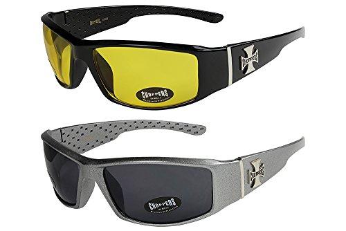 2er Pack Choppers 6608 X0 Sonnenbrillen Herren Damen Männer Frauen Brille - 1x Modell 12 (schwarz glänzend/gelb getönt) und 1x Modell 04 (anthrazit sandig glänzend/schwarz getönt) - Modell 12 + 04 -