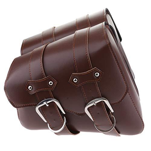 H HILABEE Universal PU Leder Motorrad Satteltaschen Seitentasche Packtaschen Gepäcktaschen (Links und rechts) - Braun