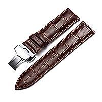 Correa De Reloj Cuero del Becerro Correa De Repuesto Pulsador Mariposa Deployant Clasp Ajuste para Tradicional Deportivo Reloj Inteligente 18mm Marrón