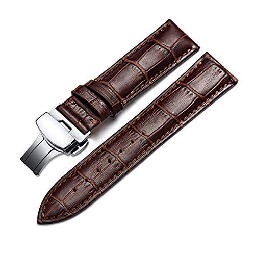 omyzam Herren Frau Leder Ersatz Uhr Armband mit Mode Sport und Freizeit Zubehör Automatische Faltschließe 22mm Braun