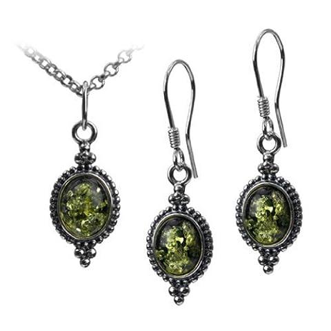 Argent sterling Ambre Vert vintage Crochet ovale Boucles d'oreilles pendentif