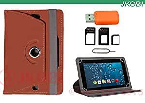 Jkobi Combo of Tablet Book Flip Flap Case Cover With Card Reader & Sim Adapter Compatible For Simmtronics Xpad X722 -Brown