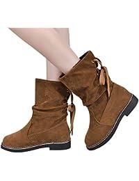 c5e9e8268bc9b9 OSYARD Damen Halbschaft Boots Schnürstiefelett Stiefeletten Flache Frauen  Snow Shoes Wildleder Booties Middle Tube Schnee Stiefel…