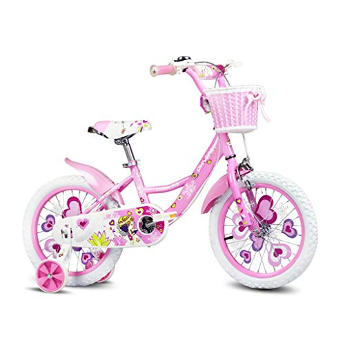 Mädchen Fahrrad Kinderfahrräder 12 Zoll, 14 Zoll, 16 Zoll, Fahrrad Fahrrad für Kinder 2-3-6-8 Jahre altes Kind Fahrrad Mode Fahrrad Kinder Geschenk (Color : PINK, Size : 14INCHES)
