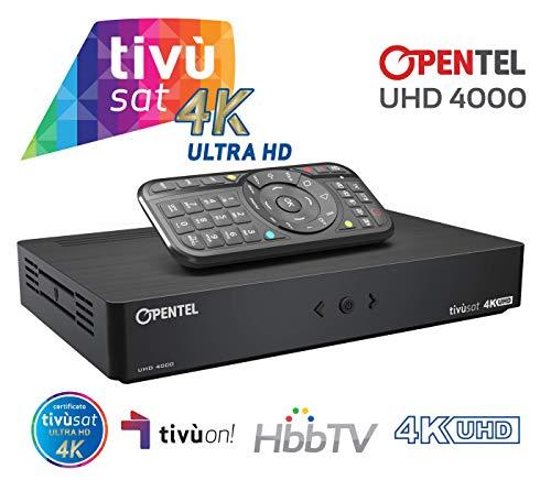 OPENTEL UHD 4000 TVS Ricevitore Satellitare 4K UHD con HbbTV - primo ricevitore tivùsat in 4K UHD con il nuovo standard per i servizi interattivi HbbTV