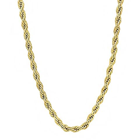 3mm 14k Gold Plated French Rope Chain Necklace, 45.5 cm + Microfiber Jewelry Polishing Cloth