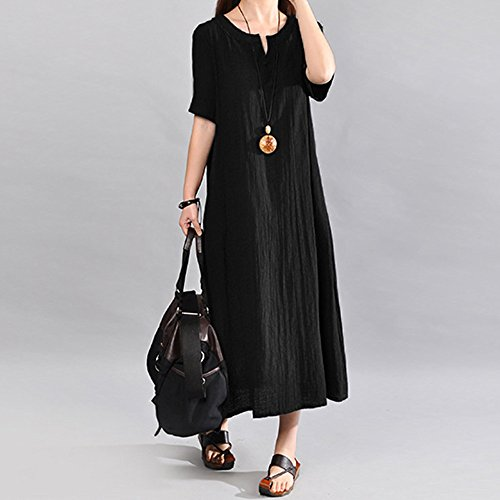 Anglewolf Women Plus Size Bohemia Casual Solid V-Neck Short Sleeve Cotton Linen Dress Ladies Summer Buttons Straight Dress Lightweight Loose Fit Dress for Daily Party Beach Work