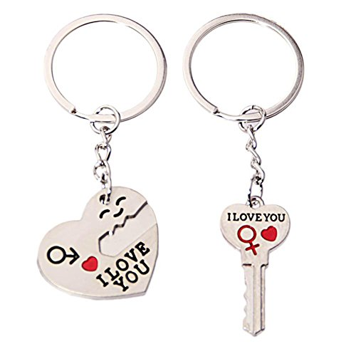 Dreamitpossible 2pcs Zinc Alloy Heart I Love You Letter Key Chain Ring Valentine's Day Gift