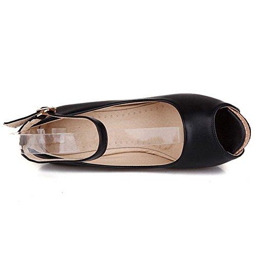 TAOFFEN Femme Elegant Plateforme Peep Toe Sangle De Cheville Talon Haut Compense Sandales Noir