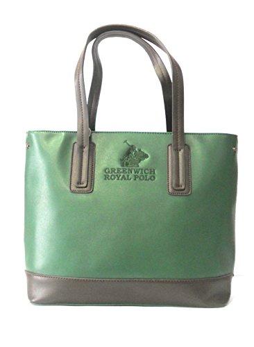 GREENWICH ROYAL POLO - BORSA DONNA IN SAFFIANO COL.VERDONE/MARRONE - art.PG16W-136-01 C
