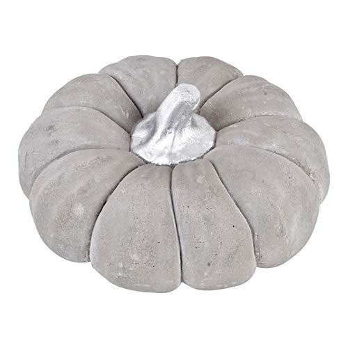 Dadeldo-Home Kürbis Deko-Objekt Herbst Halloween Steinguss Grau-Silber (7x12x12cm)