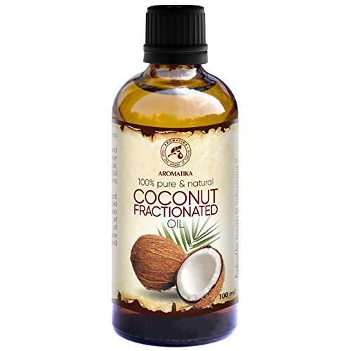 Kokosöl Fraktioniert 100ml - Cocos Nucifera Oil - 100% Reines & Natürliches Coconut Öl - Basisöl - Flüssig - Geruchlos - Intensive Pflege für Gesicht - Körper - Haut - Haare - Massageöl - Kosmetik