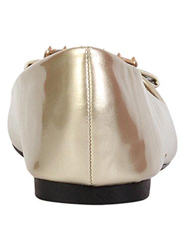 Damen Pumps Freizeit Schuhe Ballerina Damen Slipper Pumps Dolly Schuhe Gold