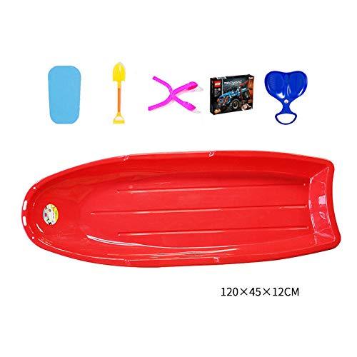 ZMXZMQ Slitta da Neve per Slittini in Plastica Resistente, Slitta da Slittino da Discesa in Slittino, con Tirante, Super Grande, per Bambini E Adulti,Rosso