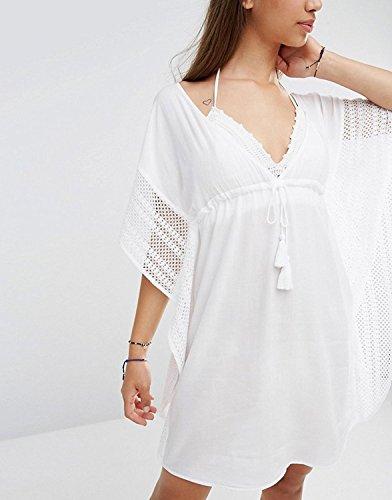 L-Peach Damen Umhang Strand-Kleid Bikini Sommerkleid Fransen Sommer-Strand-Bikini Modisches Strandkleid One Size Weiß
