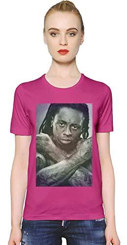 Lil Wayne Buntes Porträt YMCMB - Colourful YMCMB Portrait Women T-Shirt Girl Ladies Stylish Fashion Fit Custom Apparel by Medium - Wayne Shirt Rosa Lil