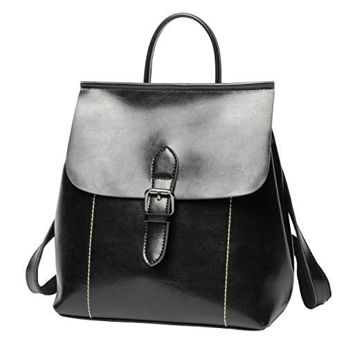 Luufan Vintage Öl Wachs Leder Rucksack Schultasche Casual Reise Daypack für Frauen Mädchen (Black)