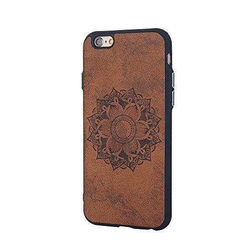 EKINHUI Case Cover Retro Sonnenblume-Prägemuster-Haut-rückseitige Abdeckung Schlanker, schockabsorbierender stilvoller schützender Stoßkasten für IPhone 6 u. 6s Plus ( Color : Rose Gold ) Brown