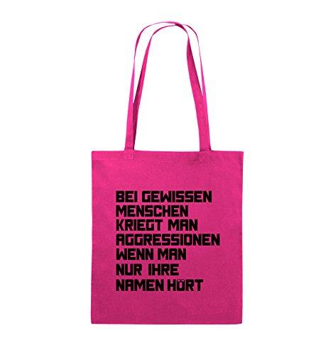 Comedy Bags - Bei gewissen Menschen kriegt man Aggressionen. - Jutebeutel - lange Henkel - 38x42cm - Farbe: Schwarz / Pink Pink / Schwarz