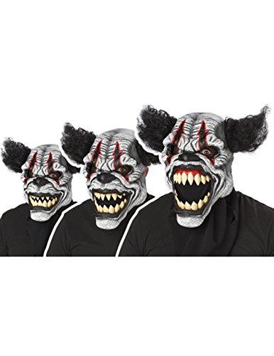 Psycho Killer Clown Ani-Motion Halloween Maske schwarz-weiss-rot Einheitsgröße (Animotion Halloween Kostüme)
