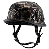 PQ&D Casque Demi-Casque Harley Vintage, Casque en Cuir Harley Cool Casque Dot Standard Anti-Collision Jet Motorcycle Helmet,XS